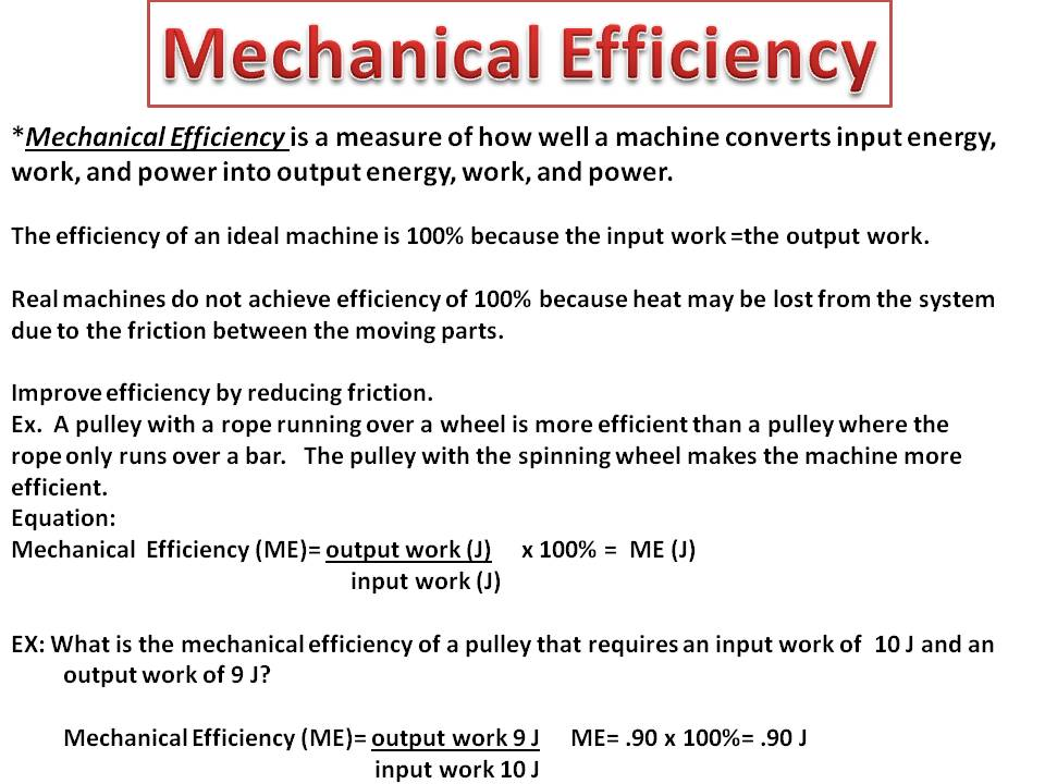 6.P.3B.2 MACHINE EFFICIENCY, MECHANICAL ADVANTAGE & WORK ...